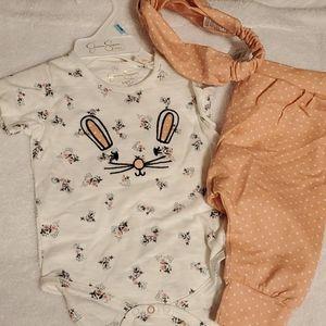 3 piece babygirl bunny set